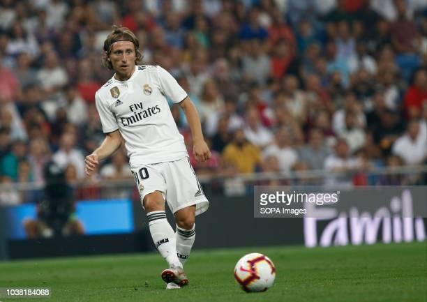 Modric during the La Liga match between Real Madrid and RCD Espanyol at Estadio Santiago Bernabéu in Madrid. Final score .