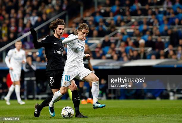 Modric in action during the UEFA Champions league round of 16 match first leg football match between Real Madrid and Paris Saint Germain at Santiago...