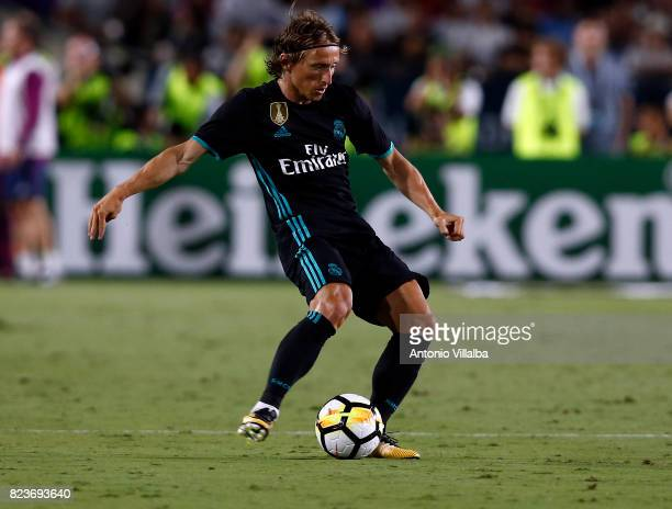 Modric of Real Madrid during a match against Manchester City during the International Champions Cup soccer match at Los Angeles Memorial Coliseum on...