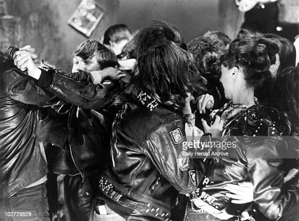 Mods and Rockers battle in film scene at Twickenham Studios July 1964 Mods and rockers battle in the Western Theatre Ballet Film of popular stage...