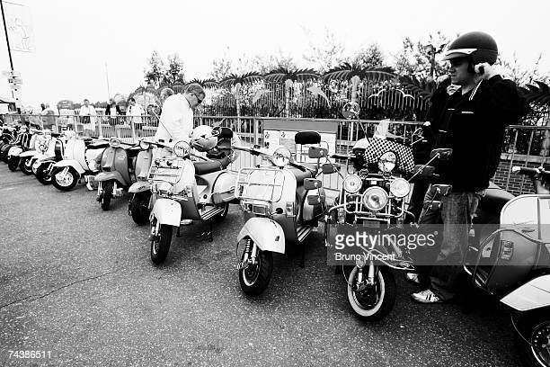 Mods gather on Southend's seafront on June 3 2007 in Southend England The Mod became popularised in the film Quadrophenia regularly travel in convoy...