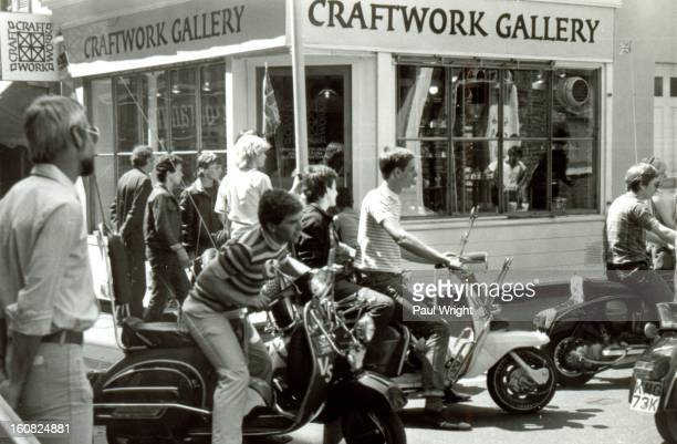 CONTENT] Mods on scooters in the Carnaby Street area of London being filmed for 'Steppin' Out' summer 1979