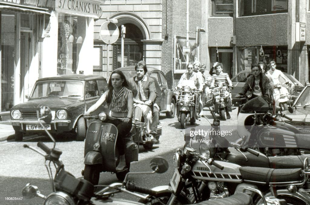 CONTENT] Mods on scooters in the Carnaby Street area of London being filmed for the film: 'Steppin' Out', summer 1979.