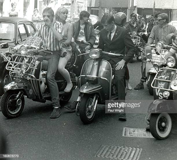Mods on scooters in the Carnaby Street area of London filming 'Steppin' Out', summer 1979. 'Steppin' Out' is a short music documentary movie that was...
