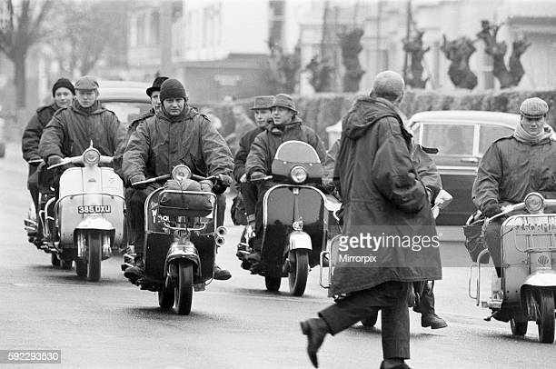Mods on their scooters seen here driving along Clacton sea front Over the 1964 Easter weekend several scuffles between Mods and Rockers broke out in...