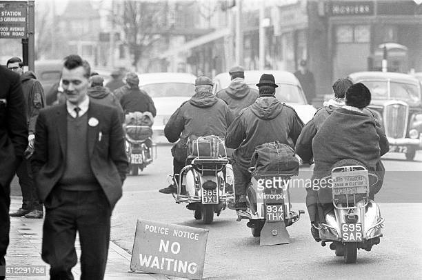 Mods on their scooters seen here leaving Clacton at the end of the bank holiday weekend Over the 1964 Easter weekend several scuffles between Mods...