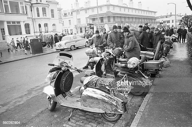 Mods with their scooters gather on Clacton sea front Over the 1964 Easter weekend several scuffles between Mods and Rockers broke out in the Essex...