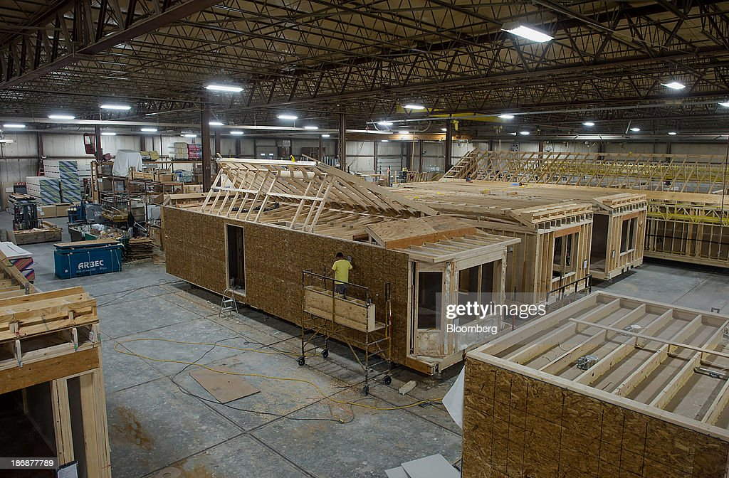 Modular home units under construction stand at the Westchester Modular Homes  factory in Wingdale, New