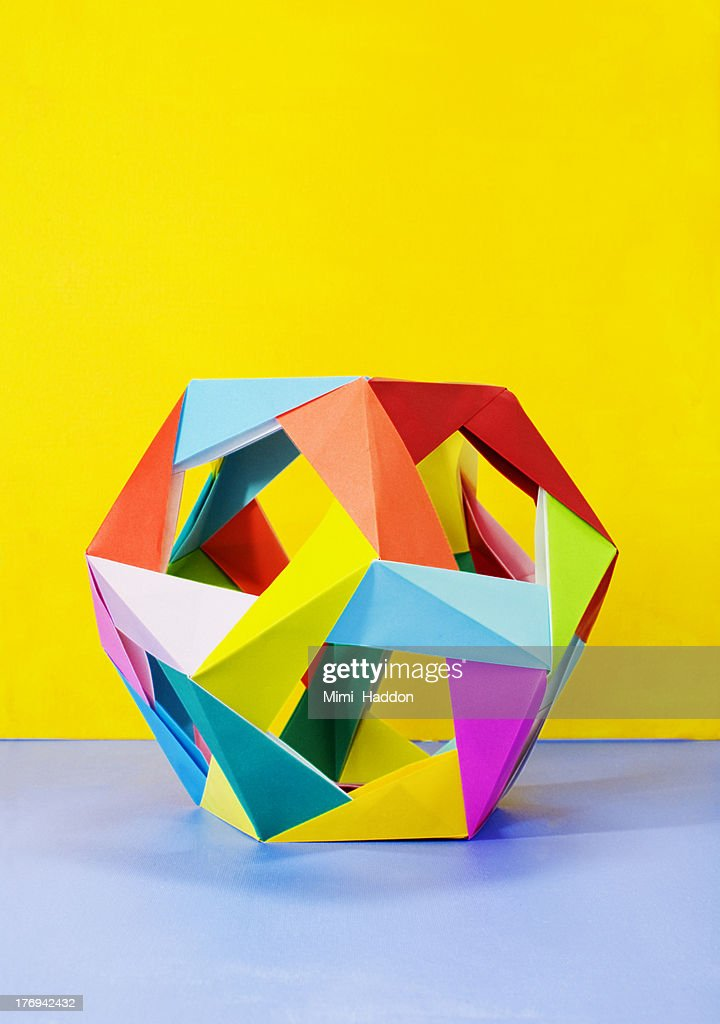 Modular Origami Sculpture on Colorful Background : Stock Photo