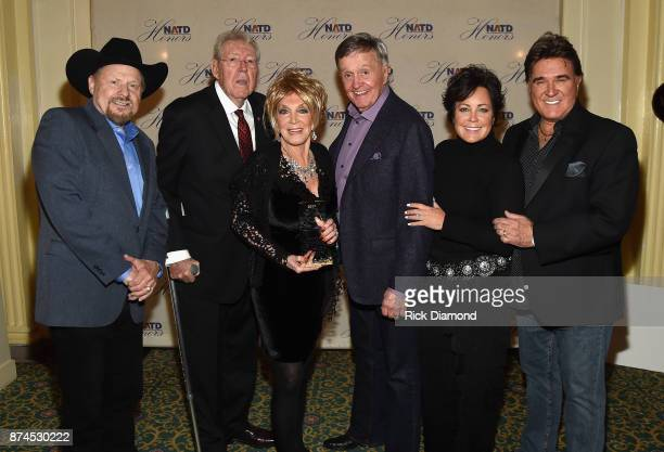 Moe Bandy Gene Ward honoree Jeannie Seely Bill Anderson Kelly Lang and TG Sheppard attend the 2017 NATD Honors Gala at Hermitage Hotel on November 14...