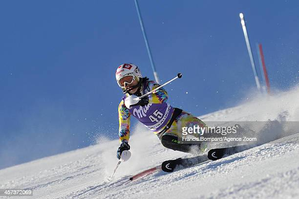 Moe Hanaoka of Japan competes during the Audi FIS Alpine Ski World Cup Women's Slalom on December 17 2013 in Courchevel France