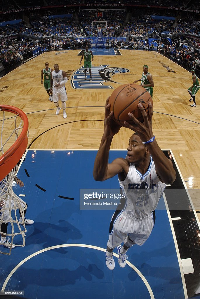 Moe Harkless #21 of the Orlando Magic goes to the basket during the game between the Boston Celtics and the Orlando Magic on November 25, 2012 at Amway Center in Orlando, Florida.