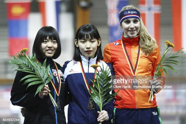 Moe Kitahara of Japan with the second place Miryeong Jeon of Korea with the first place and Sanne In T Hof of Netherlands with the third place...