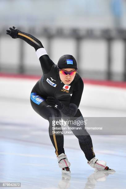 Moe Kumagai of Japan performs during the Ladies 500 Meter at the ISU Junior World Cup Speed Skating at Max Aicher Arena on November 26 2017 in Inzell...