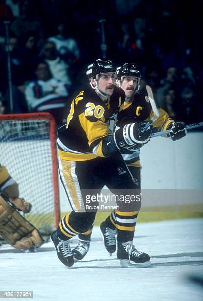 Moe Mantha of the Pittsburgh Penguins skates on the ice during an NHL game against the New York Islanders on January 9 1986 at the Nassau Coliseum in...