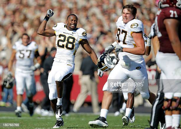 J Moe of the Missouri Tigers celebrates a victory after overtime in game against the Texas AM Aggies at Kyle Field on October 29 2011 in College...