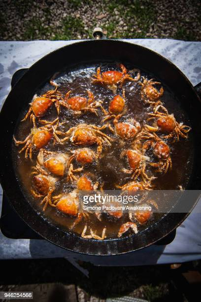 'Moeche' are fried in a pan after a tour of the fishing in Burano on April 14 2018 in Venice Italy At the beginning of the Spring the crabs go...