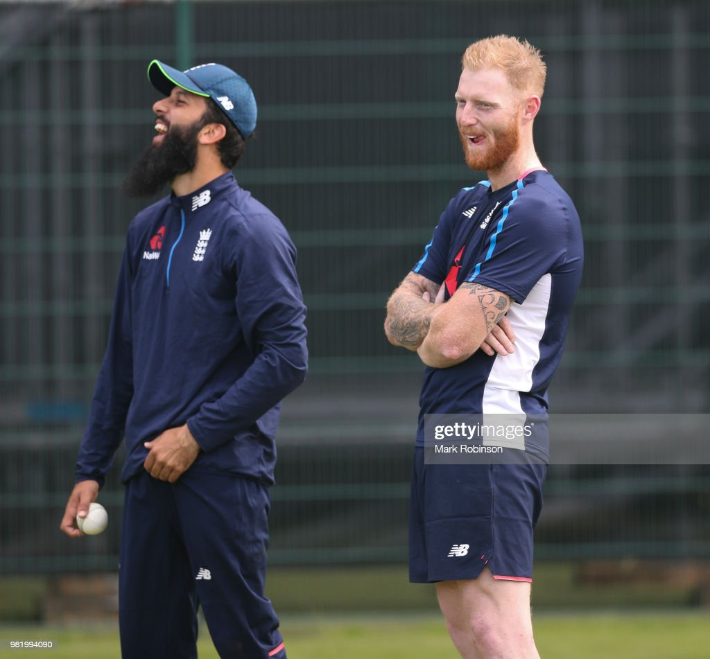 Moeen Ali and Ben Stokes of England during a nets session at Old Trafford on June 23, 2018 in Manchester, England.