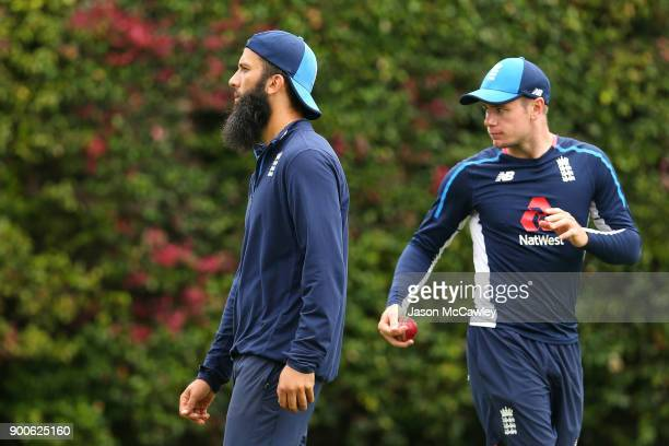 Moeen Ali and Mason Crane of England during an England nets session at the Sydney Cricket Ground on January 3 2018 in Sydney Australia