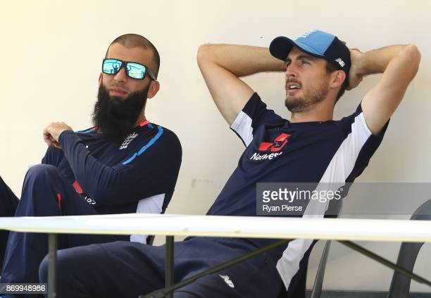 Moeen Ali and Steve Finn of England look on during day one of the Ashes series Tour Match between Western Australia XI and England at WACA on...