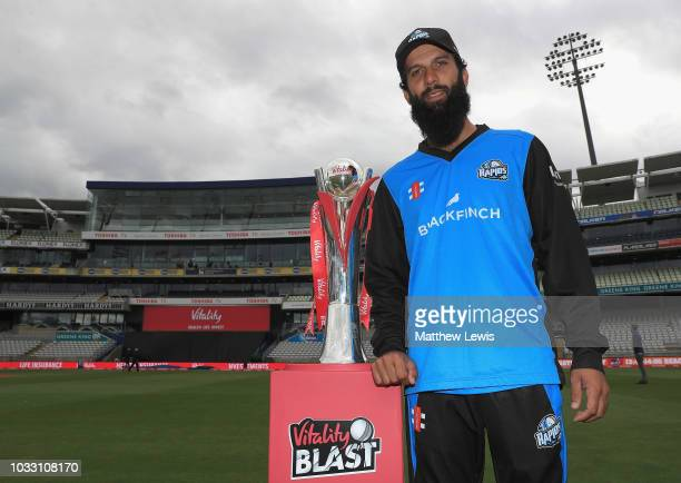 Moeen Ali Captain of Worcestershire County Cricket Club pictured with the 'Vitality Blast' trophy during a Vitality Blast Final Media Day at...