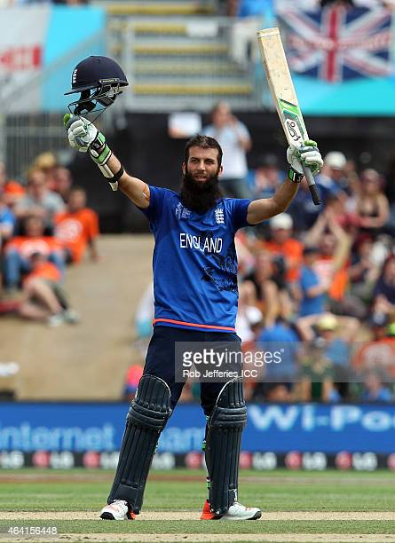 Moeen Ali of England acknowledges the crowd after scoring 100 runs during the 2015 ICC Cricket World Cup match between England and Scotland at Hagley...