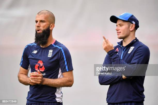 Moeen Ali of England and Mason Crane of England look on during an England nets session at Adelaide Oval on December 1 2017 in Adelaide Australia
