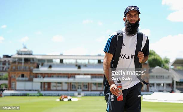 Moeen Ali of England arrives for a nets session at Lord's Cricket Ground on June 10 2014 in London England