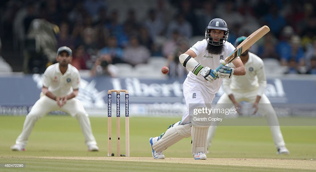 Moeen Ali of England bats during day five of 2nd Investec Test match between England and India at Lord's Cricket Ground on July 21, 2014 in London, United Kingdom.