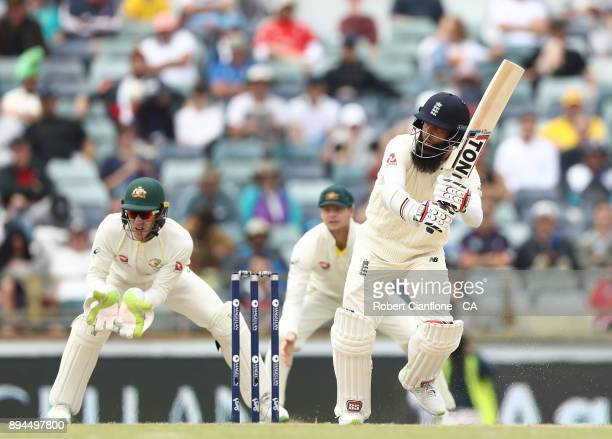 Moeen Ali of England bats during day five of the Third Test match during the 2017/18 Ashes Series between Australia and England at the WACA on...