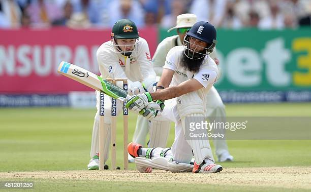 Moeen Ali of England bats during day three of the 2nd Investec Ashes Test match between England and Australia at Lord's Cricket Ground on July 18...
