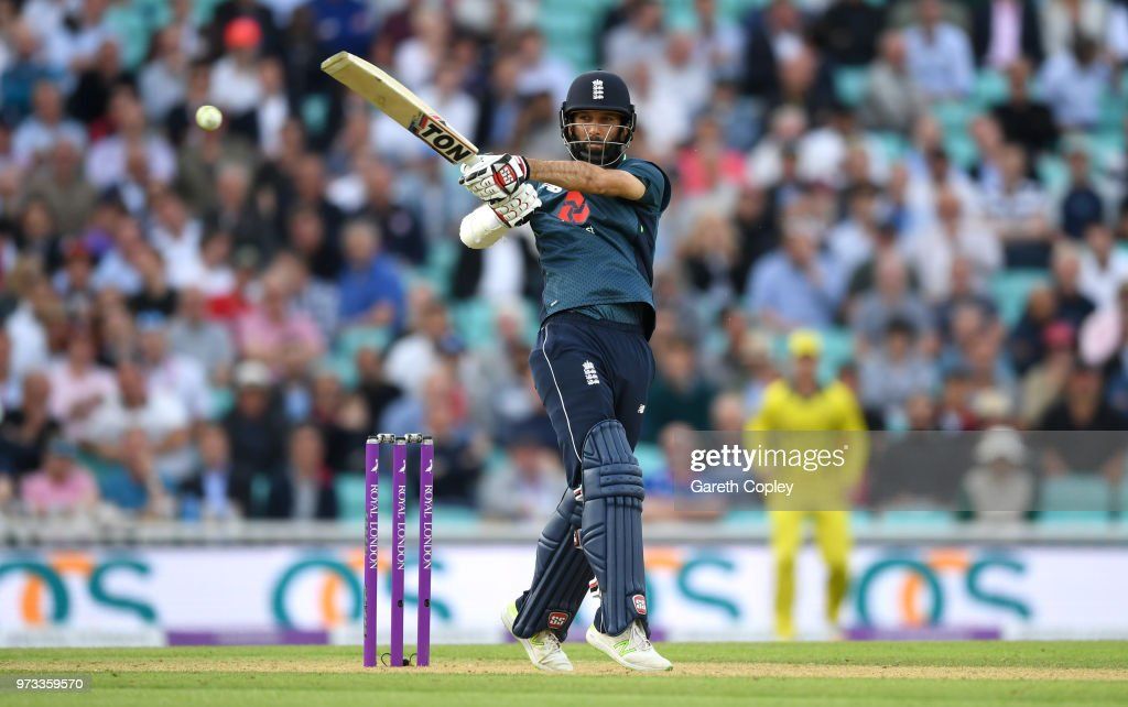Moeen Ali of England bats during the 1st Royal London ODI match between England and Australia at The Kia Oval on June 13, 2018 in London, England.