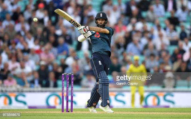 Moeen Ali of England bats during the 1st Royal London ODI match between England and Australia at The Kia Oval on June 13 2018 in London England