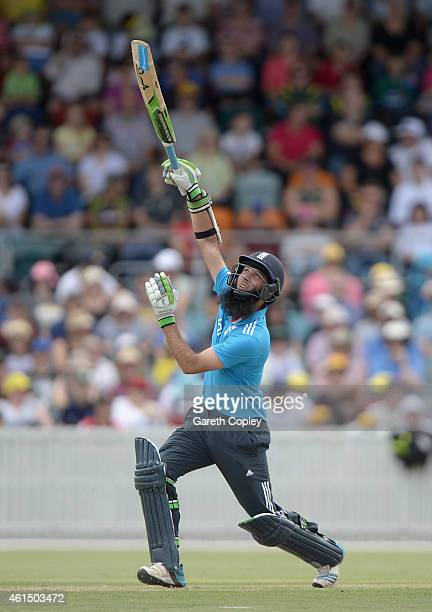 Moeen Ali of England bats during the tour match between the Prime Ministers XI and England at Manuka Oval on January 14 2015 in Canberra Australia