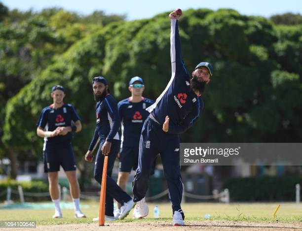 Moeen Ali of England bowls during net practice at the Three Ws Oval on January 14 2019 in Bridgetown Barbados