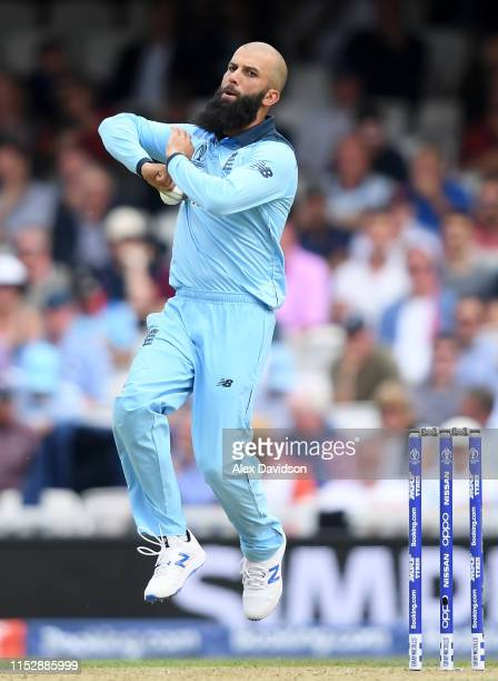 Moeen Ali of England bowls during the Group Stage match of the ICC Cricket World Cup 2019 between England and South Africa at The Oval on May 30,...