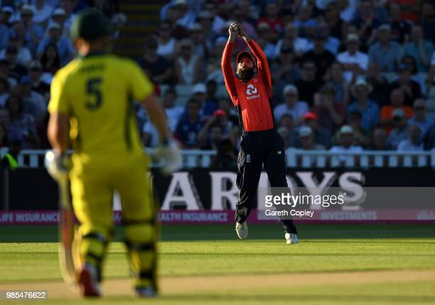 Moeen Ali of England catches out D'Arcy Short of Australia during the Vitality International T20 between England and Australia at Edgbaston on June...