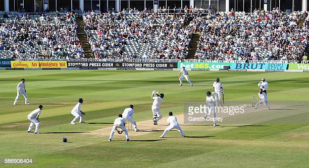 Moeen Ali of England catches out Sohail Khan of Pakistan the final wicket to win the 3rd Investec Test between England and Pakistan at Edgbaston on...