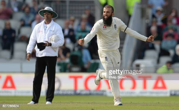 Moeen Ali of England celebrates after dismissing Theunis de Bruyn of South Africa during the fourth day of the 4th Investec Test match between...