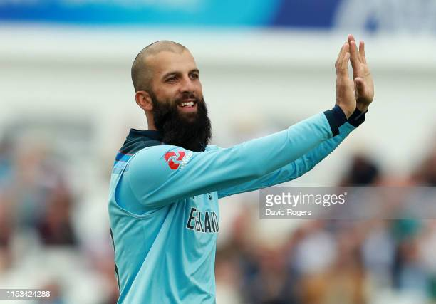 Moeen Ali of England celebrates after taking the wicket of Babar Azam during the Group Stage match of the ICC Cricket World Cup 2019 between England...