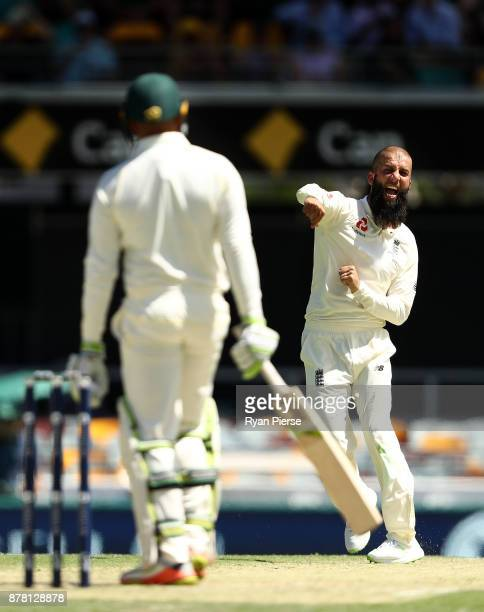 Moeen Ali of England celebrates after taking the wicket of Usman Khawaja of Australia during day two of the First Test Match of the 2017/18 Ashes...