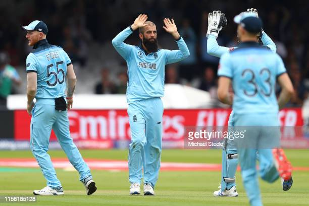 Moeen Ali of England celebrates capturing the wicket of David Warner of Australia during the Group Stage match of the ICC Cricket World Cup 2019...