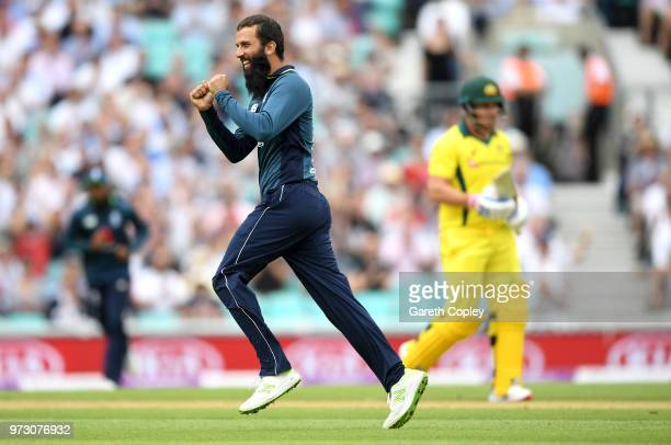 Moeen Ali of England celebrates dismissing Aaron Finch of Australia during the 1st Royal London ODI match between England and Australia at The Kia...