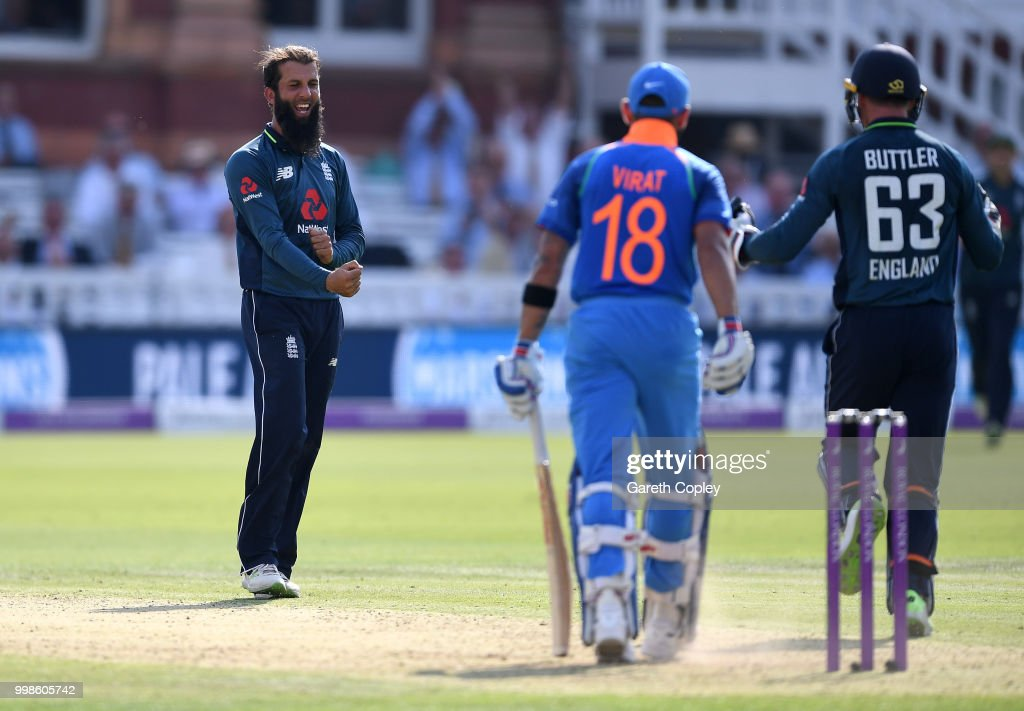 Moeen Ali of England celebrates dismissing India captain Virat Kohli during the 2nd ODI Royal London One-Day match between England and India at Lord's Cricket Ground on July 14, 2018 in London, England.