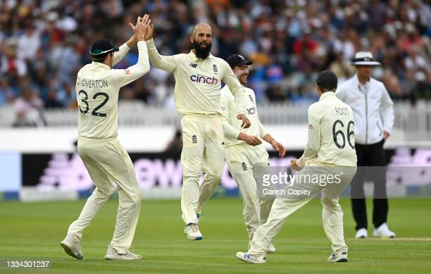 Moeen Ali of England celebrates dismissing Ravindra Jadeja of India during day four of the Second LV= Insurance Test Match between England and India...