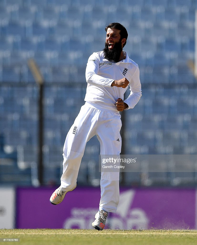 Moeen Ali of England celebrates dismissing Shakib Al Hasan of Bangladesh during the 4th day of the 1st Test match between Bangladesh and England at Zohur Ahmed Chowdhury Stadium on October 23, 2016 in Chittagong, Bangladesh.