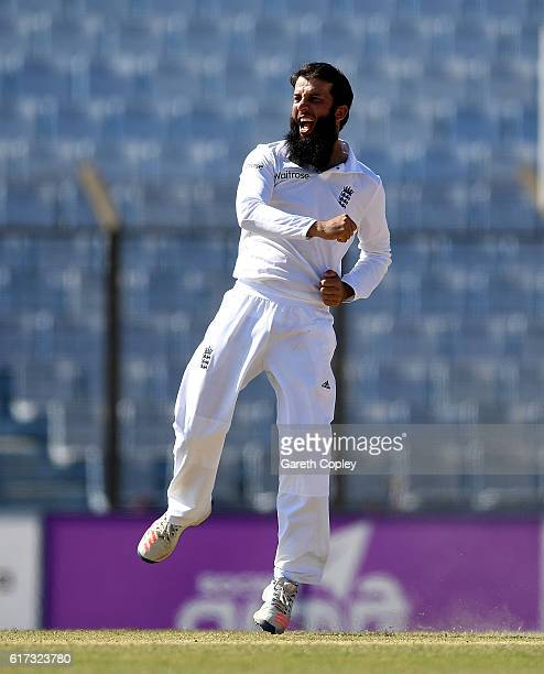 Moeen Ali of England celebrates dismissing Shakib Al Hasan of Bangladesh during the 4th day of the 1st Test match between Bangladesh and England at...