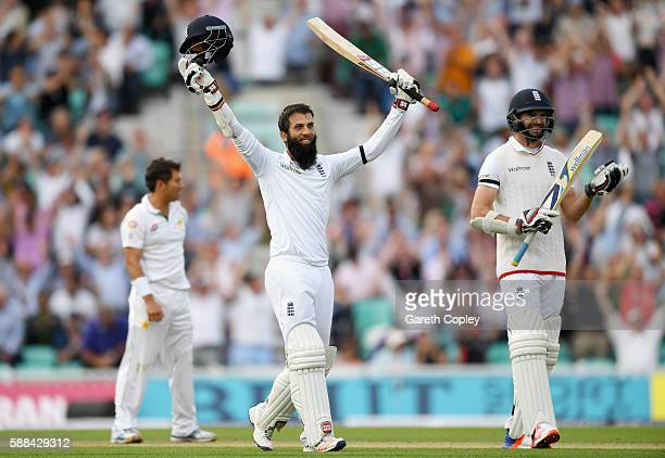 Moeen Ali of England celebrates reaching his century during day one of the 4th Investec Test between England and Pakistan at The Kia Oval on August...
