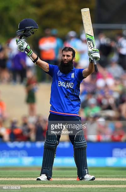 Moeen Ali of England celebrates reaching his century during the 2015 ICC Cricket World Cup match between England and Scotland at Hagley Oval on...