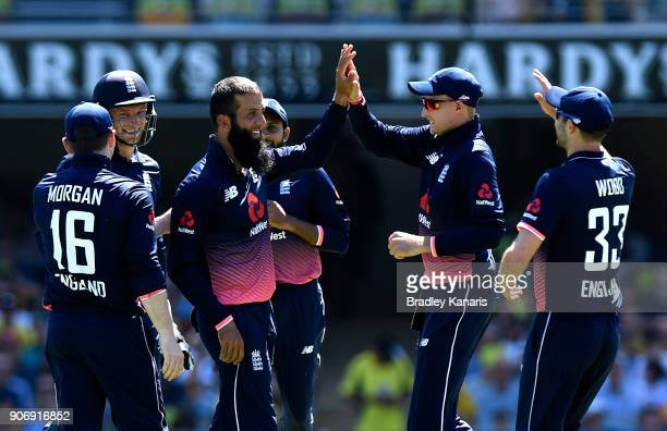 Moeen Ali of England celebrates taking the wicket of David Warner of Australia during game two of the One Day International series between Australia...